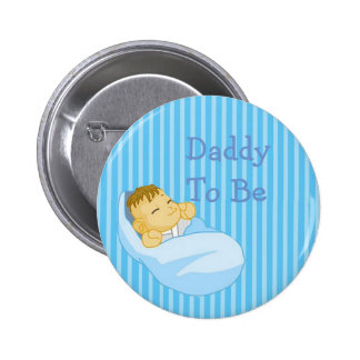 Blue Daddy To Be Baby Shower Button