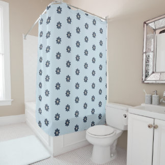 Blue Dahlia Pattern Shower Curtain