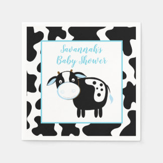 Blue Dairy Cow Boy Baby Shower Napkins Disposable Napkin
