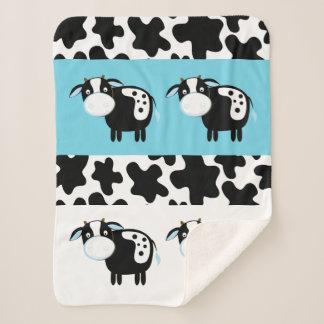 Blue Dairy Cow Pattern Sherpa Blanket