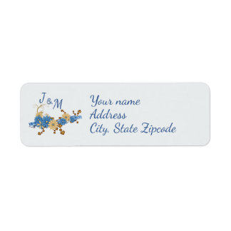 Blue Daisies and Ribbon Return Address Label