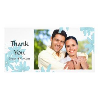 Blue Daisies on White Thank You Personalised Photo Card
