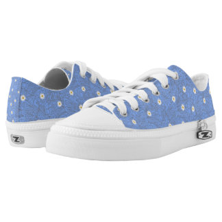 Blue daisies striped pattern. Wedding dot style Printed Shoes