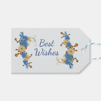 Blue Daisies with Plaid Ribbon Gift Tags
