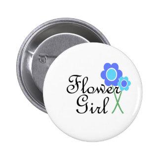 Blue Daisy Flower Girl 6 Cm Round Badge