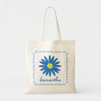 Blue Daisy Flower Girl Canvas Bag