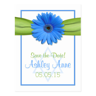 Blue Daisy Green Ribbon Bat Mitzvah Save the Date Postcard
