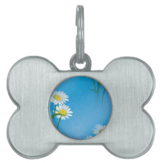 blue daisy pet tag