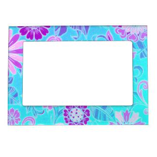 Blue Daisy Retro Print Photo Frame Magnet
