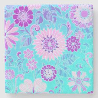 Blue Daisy Retro Print Stone Coaster