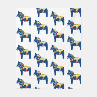 Blue Dala Horse Fleece Blanket