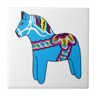 Blue Dala Horse Small Square Tile