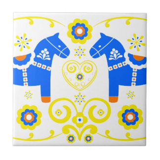 Blue Dala Horses Small Square Tile