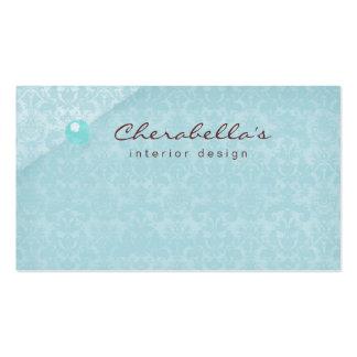 Blue Damask 1 Button Salon Spa business card