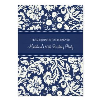 Blue Damask 80th Birthday Party Invitations