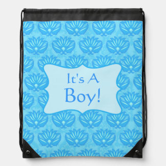 Blue Damask Baby Its A Boy Announcement Drawstring Backpack