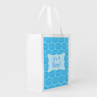 Blue Damask Baby Its A Boy Announcement Grocery Bag