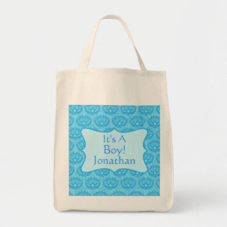Blue Damask Baby Its A Boy Birth Announcement Grocery Tote Bag