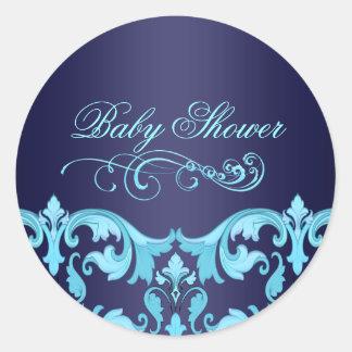Blue Damask Baby Shower Envelope Sticker/seal