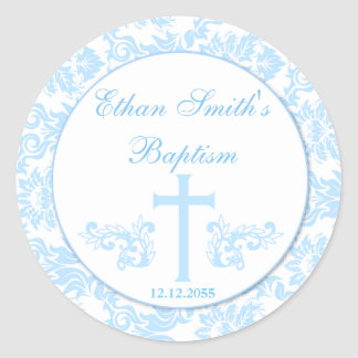 Blue Damask Baptism Favor Stickers Seals