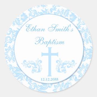 Blue Damask Baptism Favor Stickers Seals