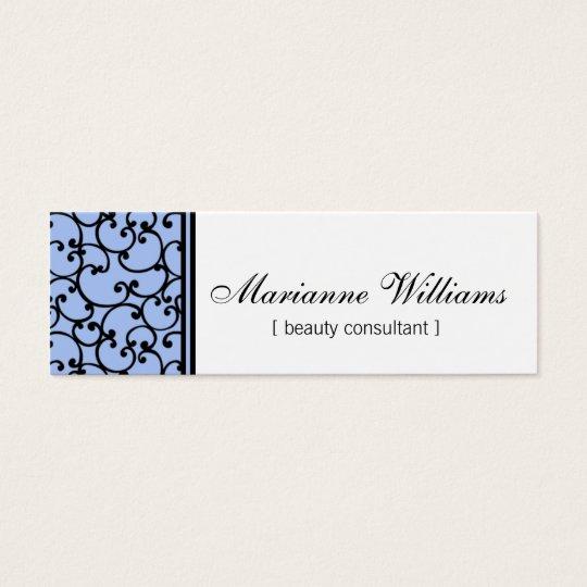 Blue Damask Beauty Micro Mini Business Cards