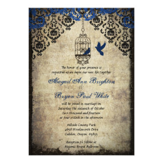 Blue Damask Birdcage Vintage Wedding Invitation