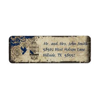 Blue Damask Birdcage Vintage Wedding Label
