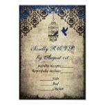 Blue Damask Birdcage Vintage Wedding RSVP 3.5x5 Paper Invitation Card