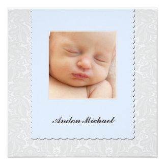 Blue Damask Birth Announcement