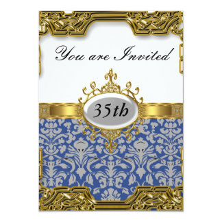 Blue Damask Birthday Party Glamour Hot Invitation