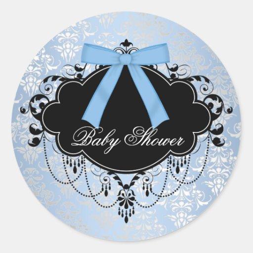 Blue Damask Blue Black Baby Boy Shower Sticker