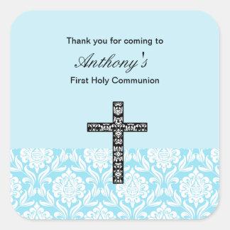 Blue Damask Boys Communion sticker