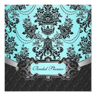 Blue Damask Bridal Shower Invitations