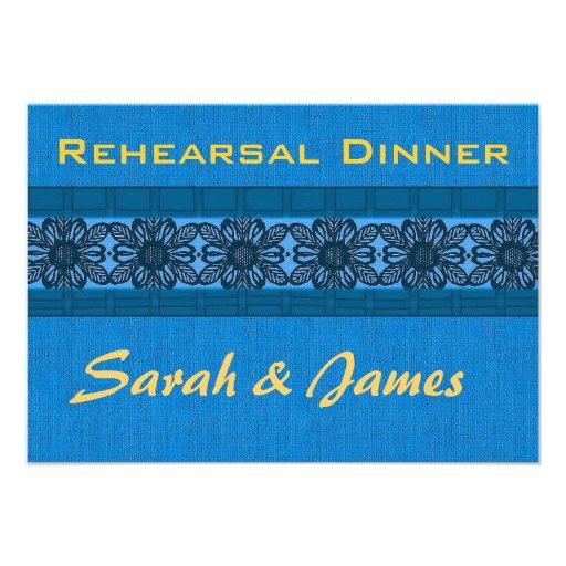 Blue damask brocade wedding rehearsal personalized invites