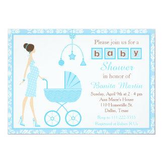 Blue Damask Brunette Expecting Boy Baby Shower Card