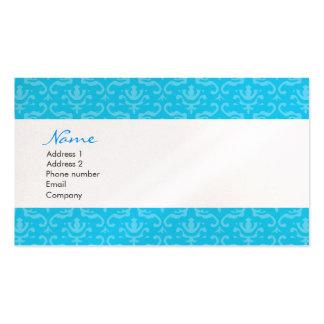 Blue Damask Business Cards