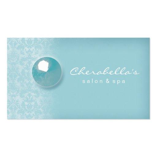 Blue Damask Button Salon Spa business card