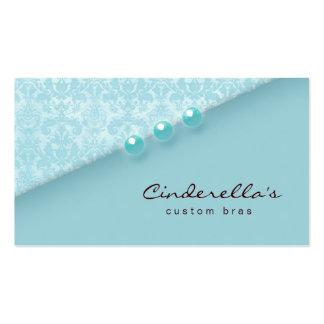 Blue Damask Buttons Bra / Salon business card