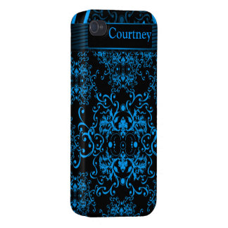 Blue Damask Case Savvy Glossy Finish IPhone 4 Case