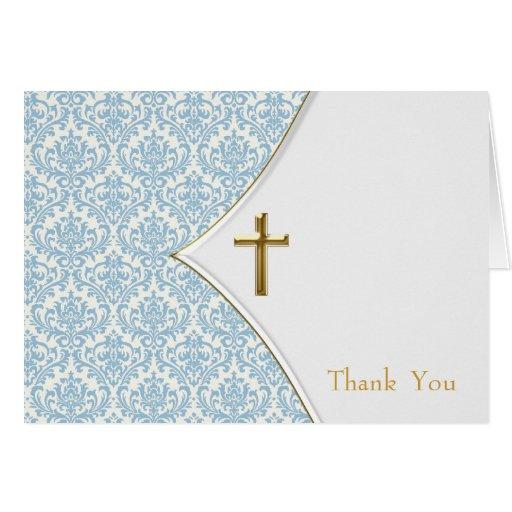 Blue Damask Christening Thank You Greeting Cards