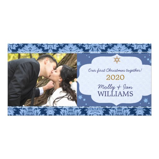 Blue Damask Couple's First Christmas Photo Cards