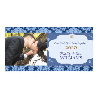 Blue Damask Couple's First Christmas Photo Photo Cards
