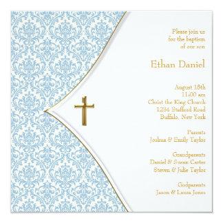 Blue Damask Cross Boy Christening 13 Cm X 13 Cm Square Invitation Card