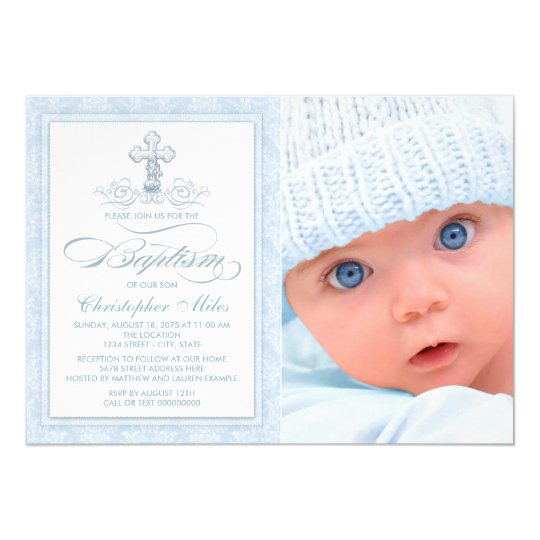 Blue Damask Cross Boy Photo Baptism Invitation
