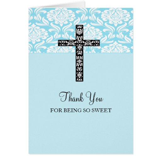 Blue Damask Cross Boys Communion Thank You Cards