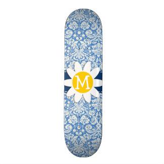 Blue Damask Daisy Skate Decks