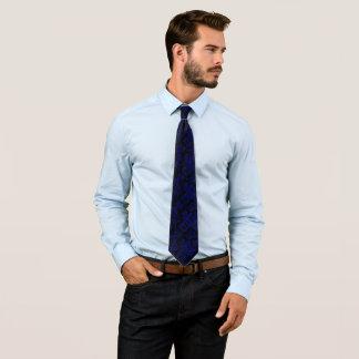 Blue damask decor tie