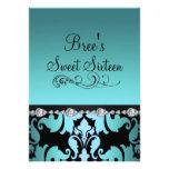 Blue Damask & Diamond Image Sweet 16 Invite