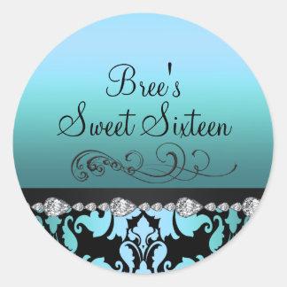 Blue Damask & Diamond Sweet 16 Sticker